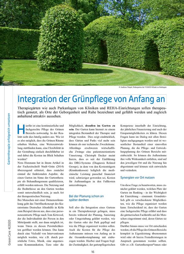 Beitrag: Integration der Grünpflege von Anfang an